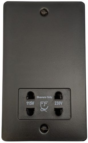 G&H FFB30B Flat Plate Matt Black Dual Voltage Shaver Socket 115-230V